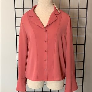 NWT Monteau Fall Button Down Blouse, Salmon L, XL